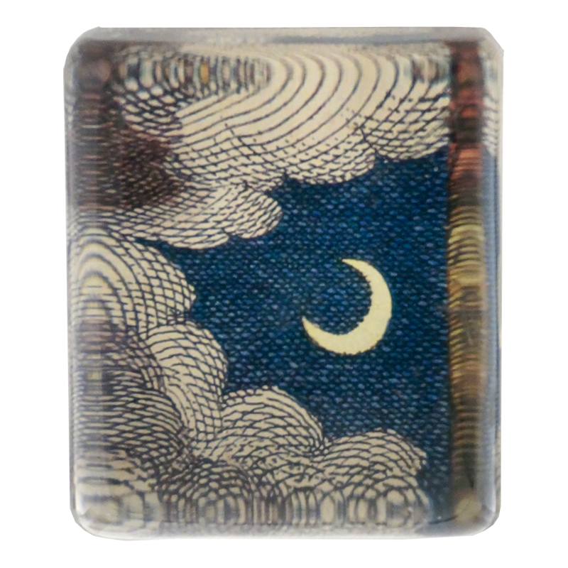 John Derian :: Rectangle Charm Paperweight, Clouds & Crescent Moon