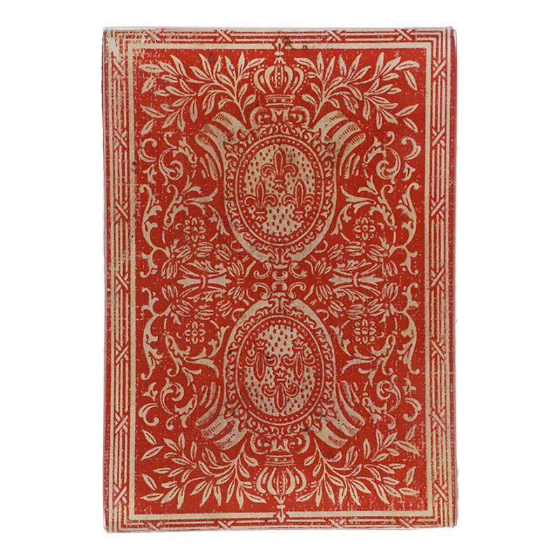 "John Derian :: 3.5"" x 5"" Tiny Rectangle Tray, Card Back, Red Fleur de Lis"
