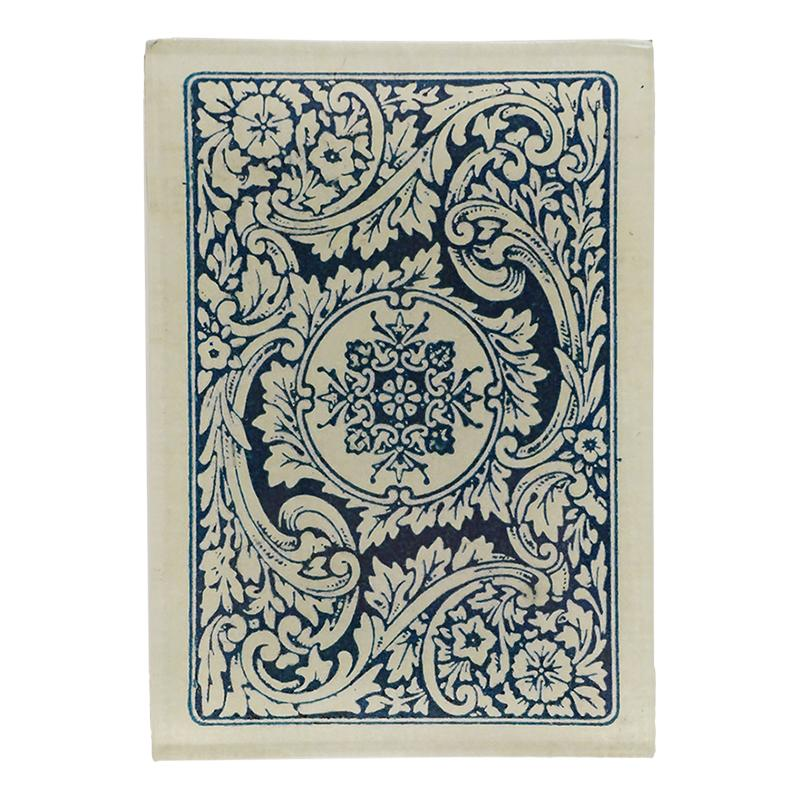 "John Derian :: 3.5"" x 5"" Tiny Rectangle Tray, Card Back, White & Blue Emblem"