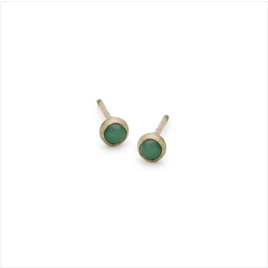 Blanca Monros Gomez :: Emerald Bezel Studs 3mm / 14K SINGLE