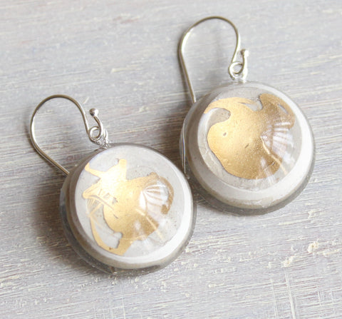 Concrete / cement and resin dangle earrings