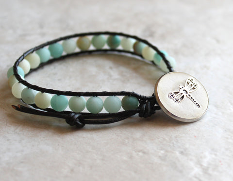 Frosted amazonite, leather wrap bracelet with dragonfly button closure