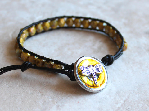 Yellow Czech glass, leather wrap, bracelet with dragonfly button closure