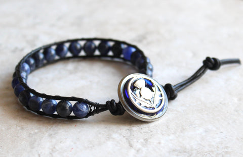 Scottish thistle bracelet - sodalite