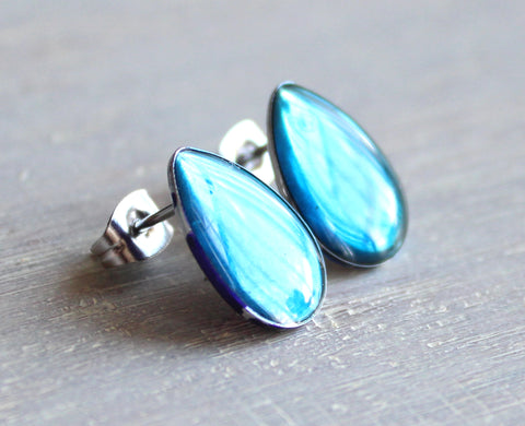 Teardrop earrings - sky blue