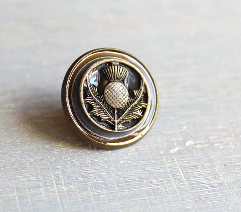 Brass Scottish thistle tie tack / lapel pins