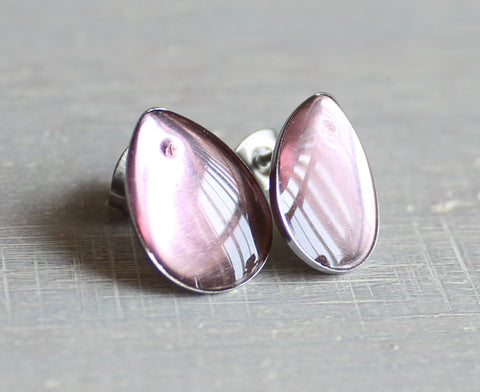 Teardrop earrings - pale pink
