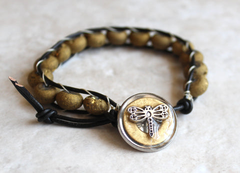 Agate geode druzy, leather wrap bracelet with dragonfly button closure