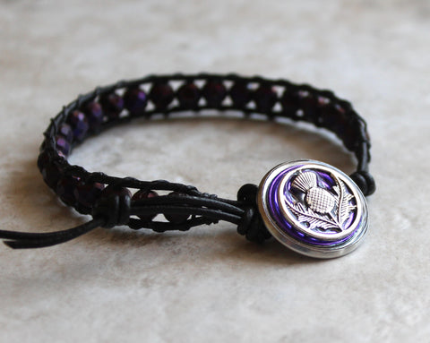 Scottish thistle bracelet - deep purple druzy beads
