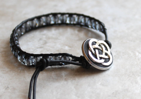 Czech fire polished gray crystal beaded leather wrap Celtic knot bracelet