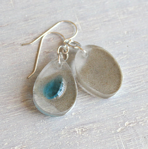 Blue topaz and concrete dangle earrings