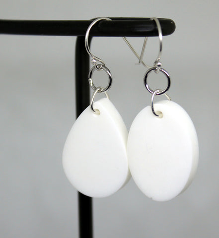 retro white minimalist geometric mismatched asymmetrical earrings