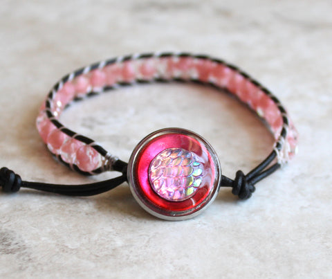 Pink mermaid scale beaded leather bracelet