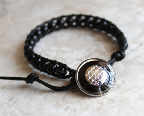 Sardonyx black dragon scale beaded leather bracelet