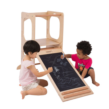 CassaroKids - Pikler Play Tower with Slide & Chalkboard