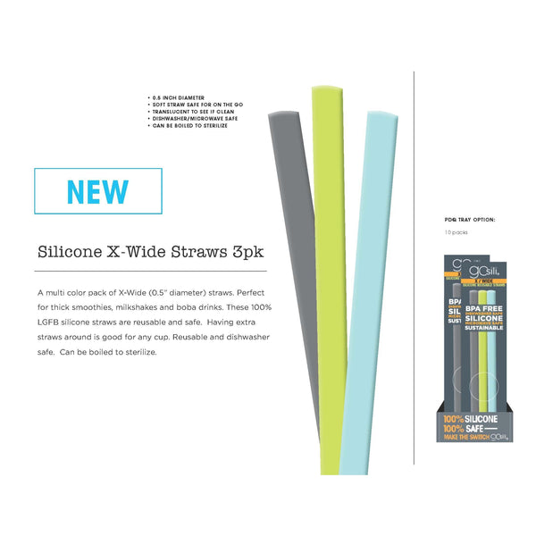 GoSili - Silicone Straws (Extra Wide) - Grassroots Baby