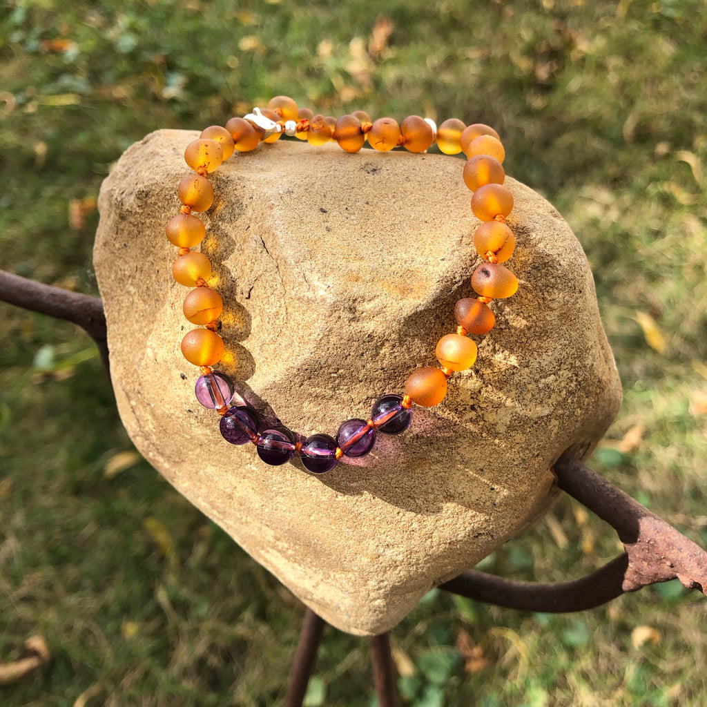 "Adult Amber - 10"" Adjustable Anklet/Bracelet w/ Amethyst Gemstone"