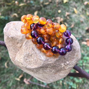 Adult Amber Necklace - Cognac w/ Amethyst Gemstone