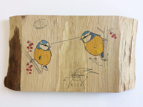 Blue tit Wood Art