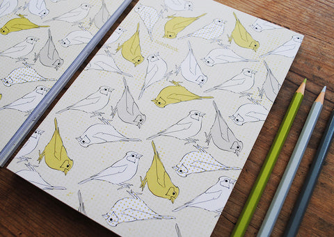 A5 Bird Notebook - Chiff Chaff polka dot