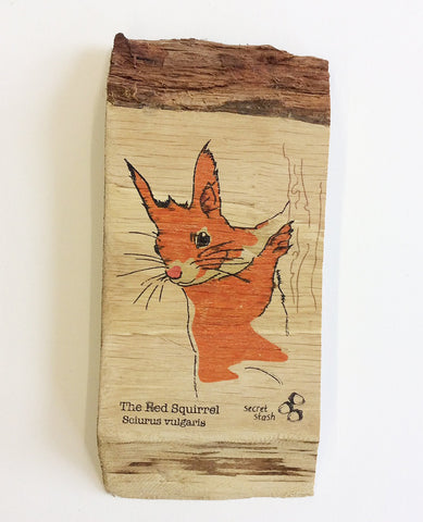 Red Squirrel Wood Art
