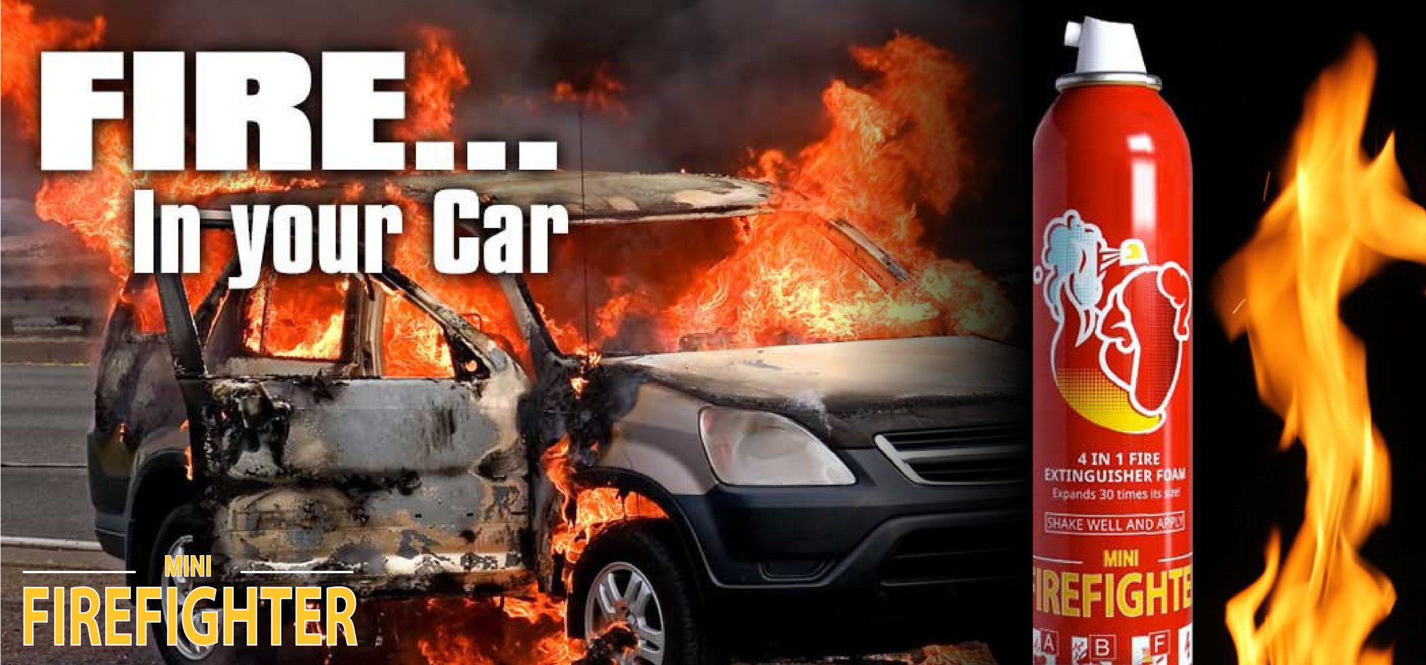 car fire, car fire extinguisher