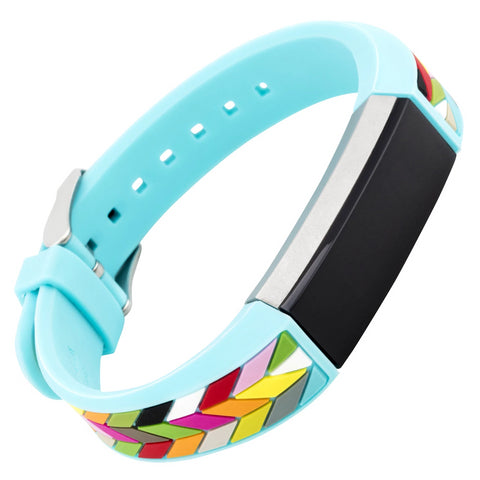 Designer Silicone Band for Fitbit Alta by French Bull in Blue Ziggy