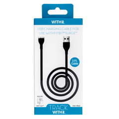 3 Foot Charging Cable for Fitbit® Surge™ by WITHit  - Black
