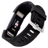 Designer Silicone Band for Fitbit Charge 2 by WITHit in Black Saffiano