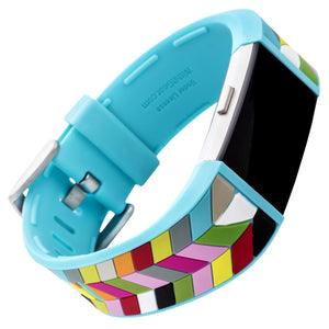 Designer Silicone Band for Fitbit Charge 2 by French Bull in Blue Ziggy