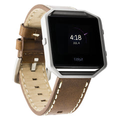 WITHit Italian Leather Strap for Fitbit Blaze - Tobacco Brown Belting Leather