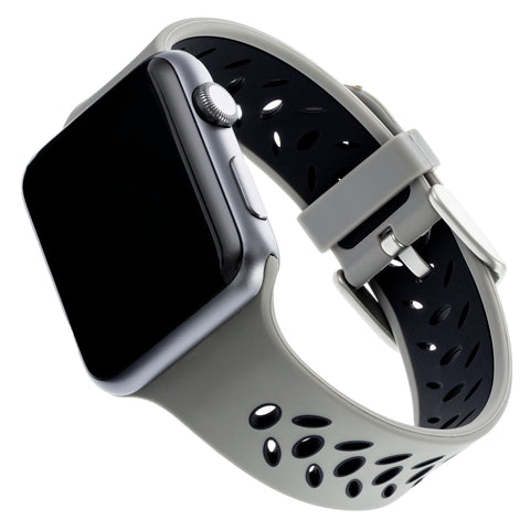 WITHit Silicone Band for 42 or 44mm Apple® Watch™ - Sport, Gray/Black