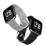 Designer Silicone Bands for Fitbit Versa Series by WITHit - 2 Pack in Black and Gray Woven