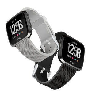 Designer Silicone Bands for Fitbit Versa and Versa 2 by WITHit - 2 Pack in Black and Gray Woven