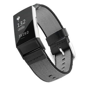 Designer Nylon Band for Fitbit Charge 3 & Charge 4 by WITHit in Black