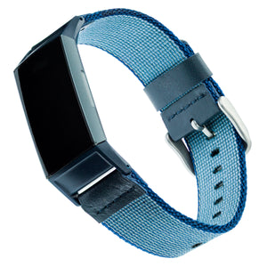 Designer Nylon Band for Fitbit Charge 3 & Charge 4 by WITHit in Blue