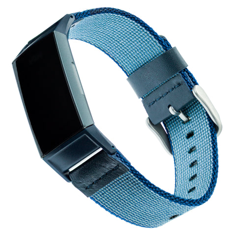 Designer Nylon Band for Fitbit Charge 3 by WITHit in Blue