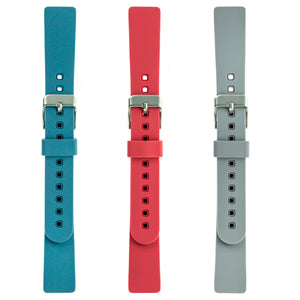 Designer Silicone Bands for Fitbit Inspire & Inspire HR by WITHit - 3 Pack in Bluestone, Coral & Light Gray
