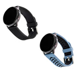 Sport Silicone Bands for Samsung Universal 20mm Smartwatch by WITHit - 2 Pack in Bluestone/Black and Black