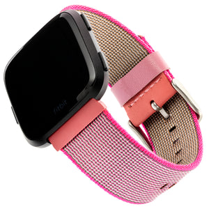 Designer Nylon Band for Fitbit Versa Series by WITHit in Pink