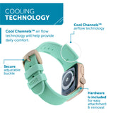 WITHit Silicone Band for 38 or 40mm Apple® Watch™ - Teal with Gold Buckle