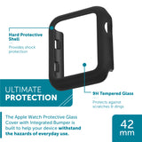 WITHit Protective Glass Cover with Integrated Black Bumper for the 42mm Apple® Watch™