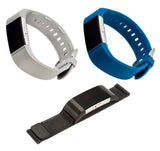 Designer Bands for Fitbit Charge 2 by WITHit - 3 Pack in Gray Silicone, Navy Silicone & Black Mesh