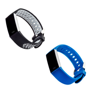 Designer Silicone Bands for Fitbit Charge 3 & Charge 4 by WITHit - 2 Pack in Black/Gray Sport & Blue Woven