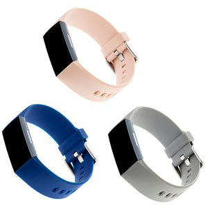 Designer Silicone Bands for Fitbit Charge 3 & Charge 4 by WITHit - 3 Pack in Light Gray, Blush Pink & Navy