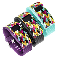 Designer sleeve designed for Fitbit Charge™ and Charge HR - French Bull Multi Color Chevron Ziggy Black