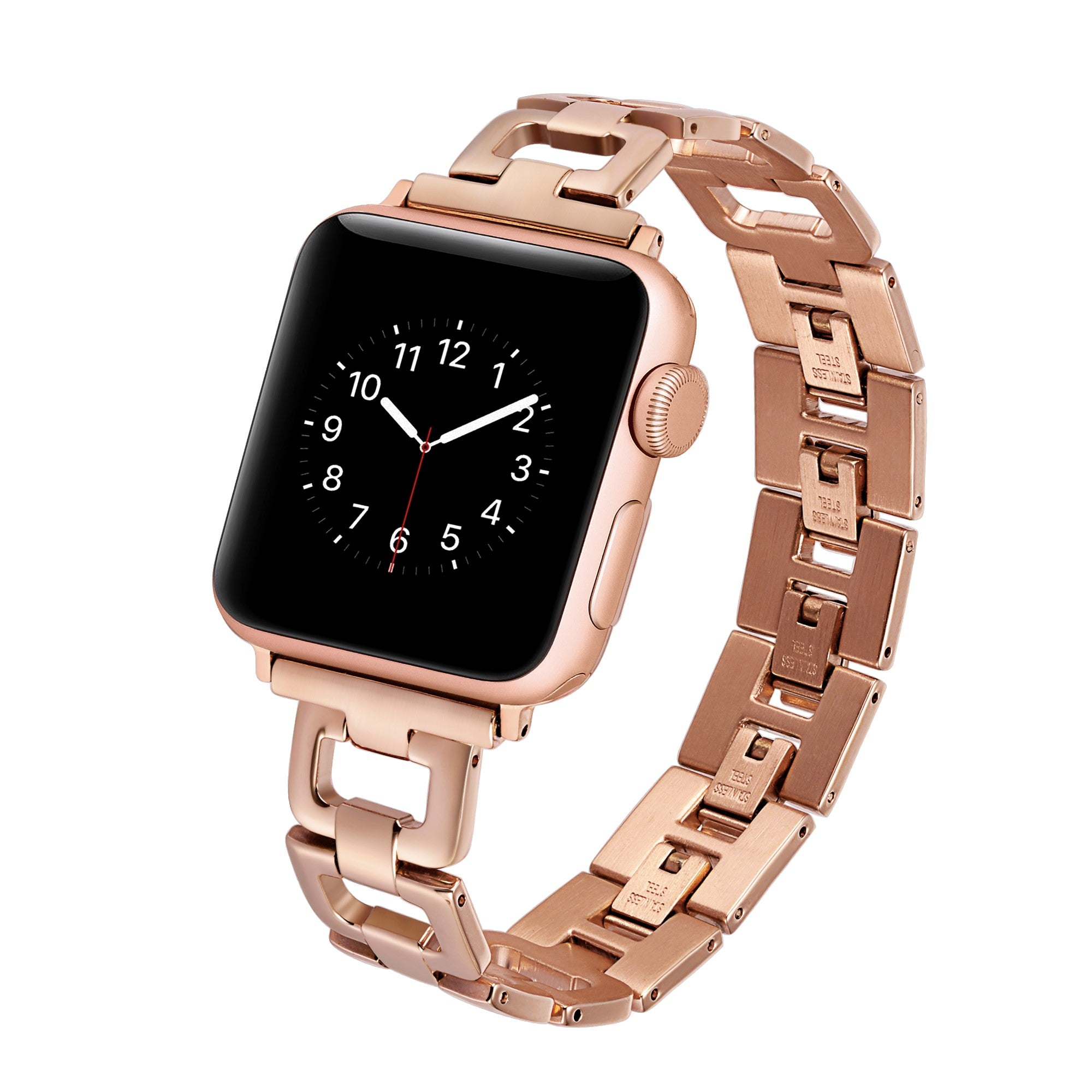 Withit Stainless Steel Link Band For 38 Or 40mm Apple Watch Rose G
