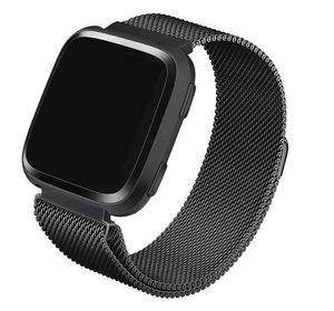 Stainless Steel Mesh Band for Fitbit Versa Series by WITHit in Space Gray