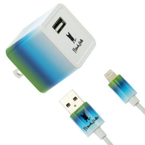 Colorful Ombre French Bull Charging Set - Apple Certified MFi Lighting Cable (3 ft.) + Fast Charging 2.4A USB Wall Charger