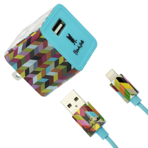 Colorful Ziggy French Bull Charging Set - Apple Certified MFi Lightning Cable (3 ft.) + Fast Charging 2.4A USB Wall Charger